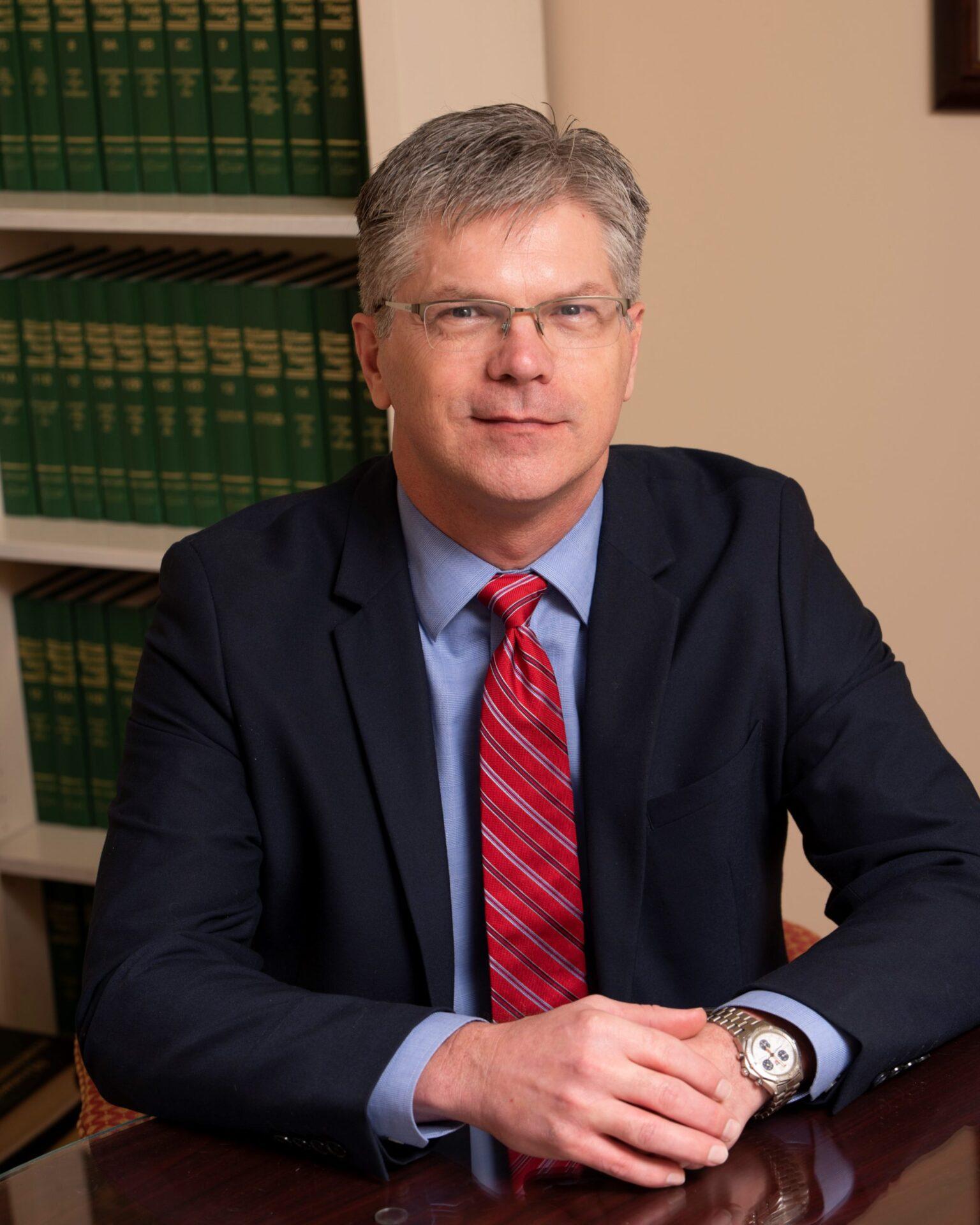 Robert Hollis sitting down in Van Matre Law Firm